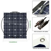 Photovoltaic 50W 18V Semi-Flexible Solar Panel Mono Cell Module Kit for Yacht RV Boat Car Charger thumbnail image