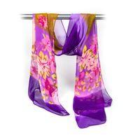Fashion Women Small Flower Print Multi Color Chiffon Long Scarf thumbnail image