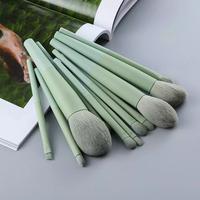 FLD 11/8pcs Natural Hair Green Makeup Brushes