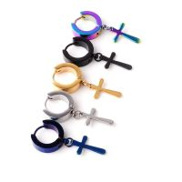 Hip hop trend stainless steel cross earrings, glamour men's earrings.