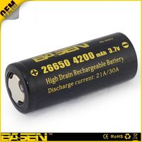 Basen 26650 4500mah 3.7v lithium ion rechargeable battery 26650 3500mah/4200mah/4500mah/5000mah rech