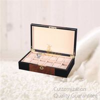 Luxury Men's Gift High Gloss Inlaid Wooden Watch Storage Display Chest Box 12 Slots thumbnail image