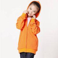 Leisure pure color hooded long-sleeved fleece cardigan girlschidren hoodies sweatshirts girls hoody