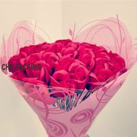 China Stock support online order promotional Y shape pink color printed opp floral bouquet sleeves