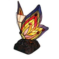 Tiffany style stained glass butterfly night lights leaded glass butterfly accent lamp