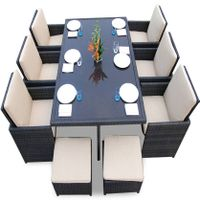 outdoor furniture sectional PE rattan dining chairs and table set DS002
