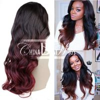 ombre red long wavy wig hair thumbnail image