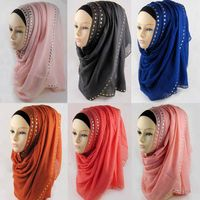 Wholesale New Arrvial Rhinestuds Beaded Viscose Muslim Hijab Scarf Shawl