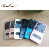 pu leather case with window for iphone6 plus