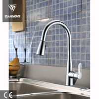 Kitchen Faucet in Chrome Zinc Alloy Body with Brass Core Swan Neck Tap