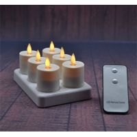Rechargeable Moving Flame Votives Set Of 6 Tealight Candle