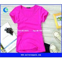 Fuschia cotton jersey  plain round neck top