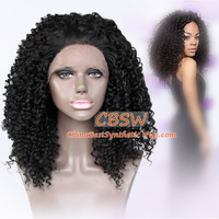 black curly synthetic lace front wig