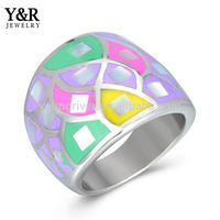 latest finger ring designs womens stainless steel enamel finger ring