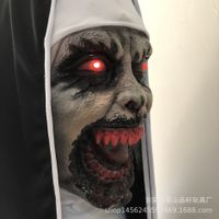 Halloween mask nun led mask The Haunted house props scary cosplay terror