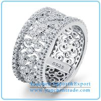 925 Sterling Silver Finger Ring with Rhodium Plated CZ Diamond thumbnail image