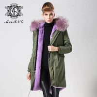2016 women coat fashion MeiFng brand white cotton shell and white fur lining long fashion parka coat