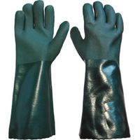 40 cm green sandy finished PVC working safety gloves