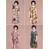 Middle-aged mother summer dress western-style dress large size cover belly 50 years old women thumbnail image