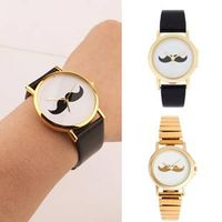 Japan Movt Quartz Watch With Mustache Face And Golden Strap For Ladies