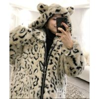 Cute leopard fur jacket with super warm, thick and super large hat in winter of 2018