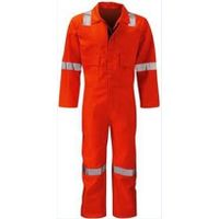 Orange durable Long Sleeve High Visibility Cotton Fire Retardant Coverall