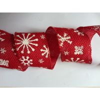 red jute ribbon with snow printing, sewing wire edge thumbnail image