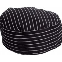 OEM custom made Polyester Cotton Twill Unisex Black /white pin stripe Chef Hats with Embroidery Logo