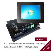 8 Inches 1024x768 LCD Industrial Panel Monitor with Touchscreen and LED LCD DVI VGA Idm-08