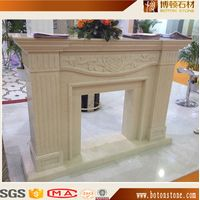 Beige Marble Fireplace Mantel with carving thumbnail image