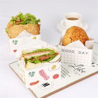 Pe Lined Printable Hamburger Sandwich Food Wrapping Paper