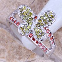 Girls cz stone engagement rings butterfly design fashion jewelry thumbnail image
