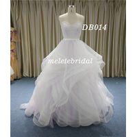 Lace Applique Bodice Sweetheart Neckline Ruffle Skirt Wedding Dress
