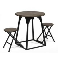 Metal folding tables and chairs are used in home gardens and outdoors