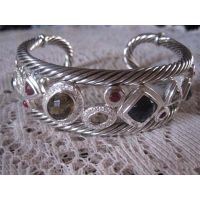 Sterling Silver Jewelry Black Cubic Zircon Cuff Bracelet (B-082) thumbnail image