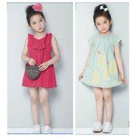 Girl cotton solid sleeveless dress big size summer knee-length skirt thumbnail image