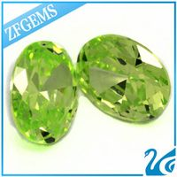 Wholesale Green Apple 10* 14 MM Oval Loose CZ Zircon
