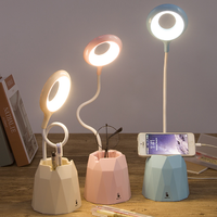 Creative small table lamp bedroom dormitory students reading folding touch pen holder charging led e