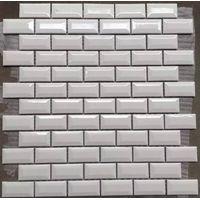 White mini Beveled glazed tiles