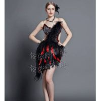 High Quality Ostrich Hair Latin Dress Latin Dancewear