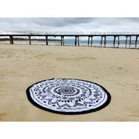 Round Beach Towel with Tassels, 100 Cotton Turkish Printed Beach Towel
