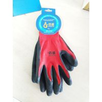 13 gauge red polyester liner with black latex crinkle finished palm coating glove