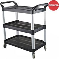 Functional style easy to assemble three tier plastic service trolley