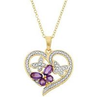 Gold Over Silver Butterfly Heart Pendant Necklace