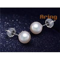 Wholesale Pearl Jewelry 14K Solid Gold White Freshwater Cultured Pearl Stud Earrings - AAA Quality