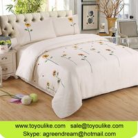 Handmade Sunflower Embroidered Pure Cotton Home Textile Bed Linen Duvet Cover Bed Sheet Pillowcases thumbnail image