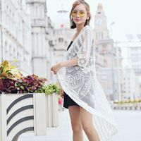 Lace embroidery blouse beach sunscreen five - point sleeves lace embroidery hollow jacket plus secti
