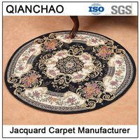 Blue Polyester Jacquard Round Persian Carpet BL8165