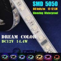 Wholesale DC12V 60leds/m Sleeving Waterproof Dream Color IC1812 SMD5050 LED Strip Light