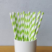 Green And White Big Striped Drinking Paper Straws